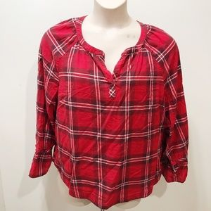 Talbots Size XL Plaid Top Red Black Casual Peasant
